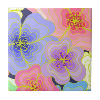 Hübsche Blumen der Retro Art in vielen Farben Kleine Quadratische Fliese