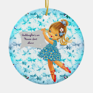 Hübsche Blumen-feenhaftes Patenttochter-Geschenk Keramik Ornament