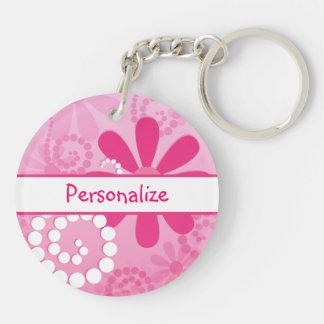 Hübsche Blumen-niedliche rosa Retro Gänseblümchen Schlüsselanhänger