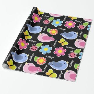 Hübsche Blumen, Vögel u. Marienkäfer Geschenkpapier