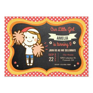 Hübsche Cheerleader-Mädchen-Geburtstags-Party Karte