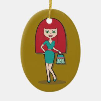 Hübsche Dame mit Handtasche Ovales Keramik Ornament