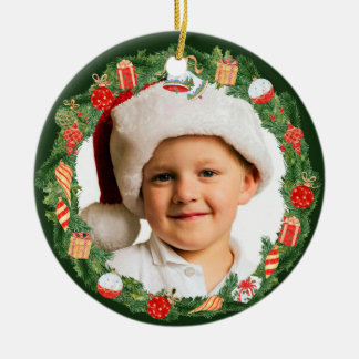 Hübsche Feiertagwreath-Foto-Schablone Keramik Ornament