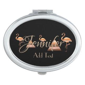 Hübsche Flamingos addieren Text-Spiegel Taschenspiegel
