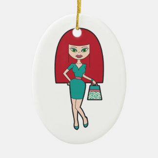 Hübsche Frau mit retro Handtasche Ovales Keramik Ornament