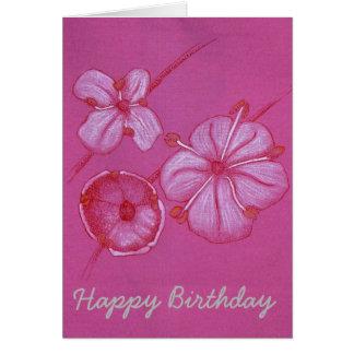 Hübsche gemalte Blumen-Geburtstags-Karte Karte