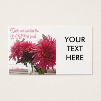 Hübsche Geschäfts-Karten mit rosa Gänseblümchen Visitenkarte