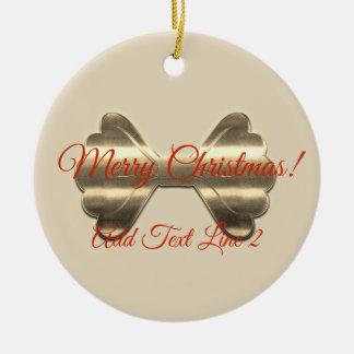 Hübsche Goldbogen-frohe Weihnacht-Verzierung Keramik Ornament
