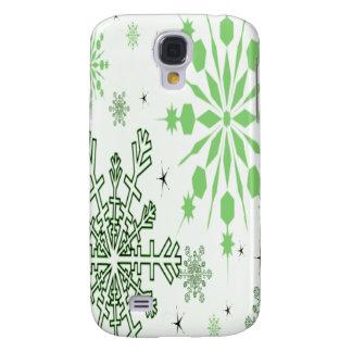 Hübsche grüne Schneeflocken Galaxy S4 Hülle
