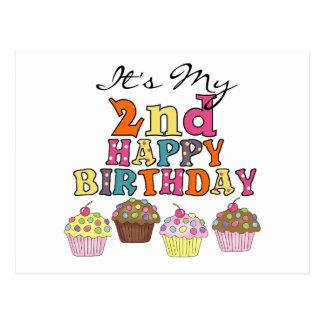 Hübsche Kuchen-2. Geburtstags-T-Shirts und Postkarte