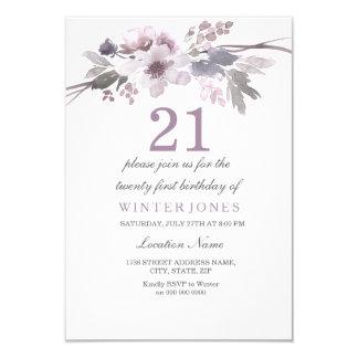 Hübsche lila Blumen-laden 21. Geburtstags-Party 8,9 X 12,7 Cm Einladungskarte