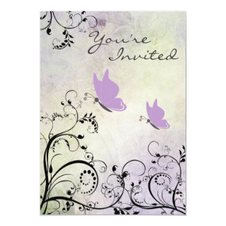 Hübsche lila Schmetterlings-Baby-Duschen-Einladung Karte