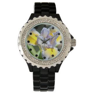 Hübsche lila und gelbe Irisrhinestone-Uhr Uhr
