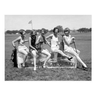 Hübsche Mädchen-Golfspieler, Zwanzigerjahre Postkarte