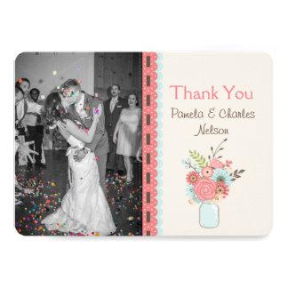 Hübsche Maurer-Glas-Foto-Hochzeit danken Ihnen zu 12,7 X 17,8 Cm Einladungskarte