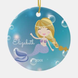 Hübsche Meerjungfrau-personalisierte Keramik Ornament