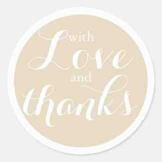 Hübsche neutrale beige Wedding Liebe und Dank Runder Aufkleber