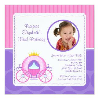 Hübsche Prinzessin Carriage Foto Birthday Quadratische 13,3 Cm Einladungskarte