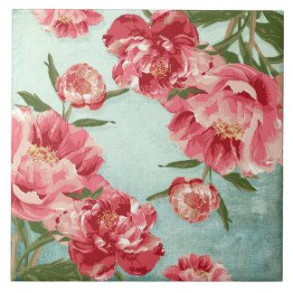 Hübsche Retro Blumen-Chintz-Pfingstrosen Große Quadratische Fliese