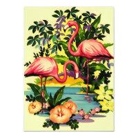 Hübsche Retro Flamingo-Pool-Party Einladungen