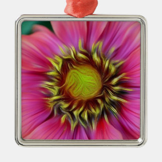 hübsche rosa Blume Silbernes Ornament