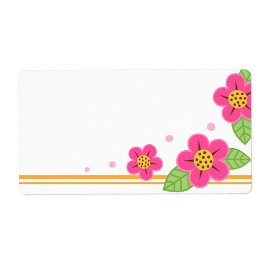 Hübsche rosa Blumen niedlicher Frühling oder Versand Aufkleber