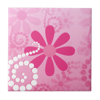 Hübsche rosa Blumen-niedliches Retro Kleine Quadratische Fliese