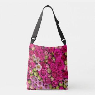 Hübsche rosa Blumen-Taschentasche Tragetaschen Mit Langen Trägern