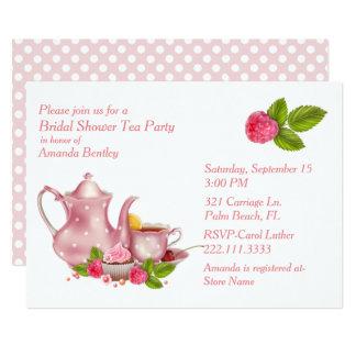 Hübsche rosa Brautparty-Tee-Party Einladung