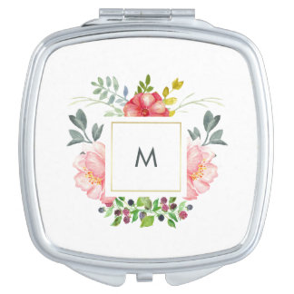 Hübsche rosa Pfingstrosen-Blumen mit Monogramm Taschenspiegel