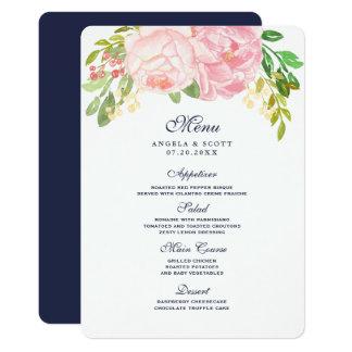 Hübsche rosa Pfingstrosen-Menü-Karten (12x18) 12,7 X 17,8 Cm Einladungskarte