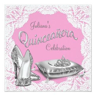 Hübsche rosa Prinzessin Quinceanera Personalisierte Ankündigung