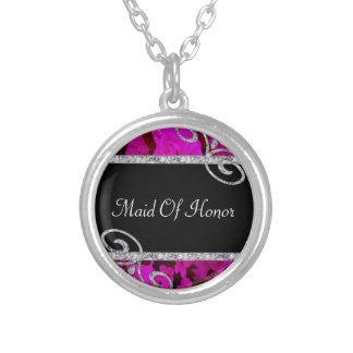 Hübsche rosa Rosen u. Wedding Diamant-Wirbel Versilberte Kette