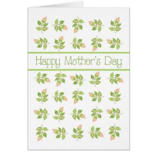 Hübsche rosa Rosenknospen am weißen Tag der Mutter Karte