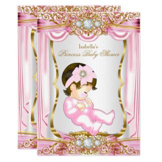 Hübsche Rosa-Seide Brunette-Prinzessin-Babyparty Karte