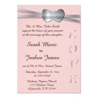 Hübsche rosa und silberne Hochzeits-Liebe-Herzen Karte