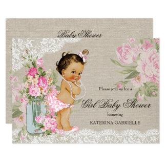 Hübsche Shabby Chic-Spitze-Blumenbaby-Dusche Karte