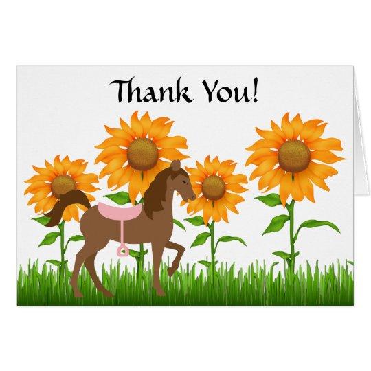 Hübsche Sonnenblumen u. Pferd danken Ihnen zu Karte