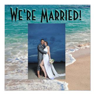 Hübsche Strand-Hochzeits-Mitteilung Quadratische 13,3 Cm Einladungskarte
