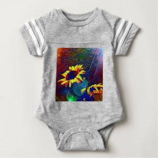 Hübsche vibrierende künstlerische Sonnenblumen Baby Strampler