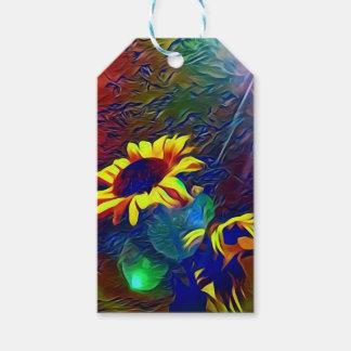 Hübsche vibrierende künstlerische Sonnenblumen Geschenkanhänger
