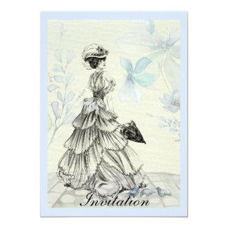 Hübsche Vintage Dame und blaue Blumen Karte