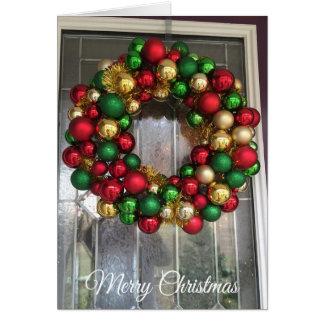 Hübsche Weihnachtstür mit dekorativer Wreath-Karte Karte