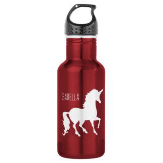 Hübsche weiße Unicorn-Silhouette-Mädchen schön Trinkflasche
