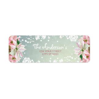 Hübsche Winter-Poinsettia-Adressen-Etiketten