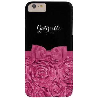 Hübscher Bogen-rosa und schwarzes Rosen-Muster mit Barely There iPhone 6 Plus Hülle