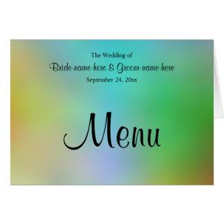 Hübscher bunter Hochzeits-Menü-Entwurf Mitteilungskarte
