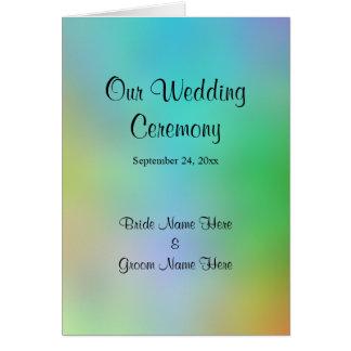 Hübscher bunter Hochzeits-Programm-Entwurf Grußkarte