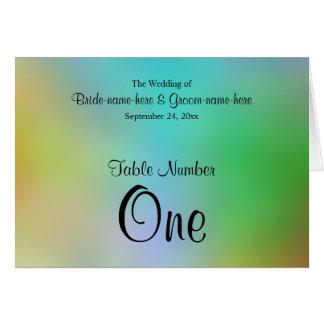 Hübscher bunter Wedding Tischnummer-Entwurf Karte