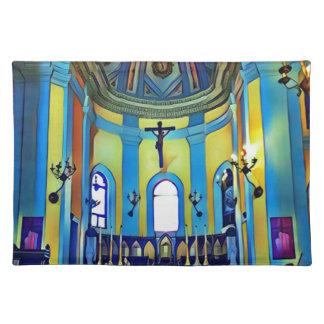 Hübscher gelber blauer vibrierender Kirchen-Altar Tischset